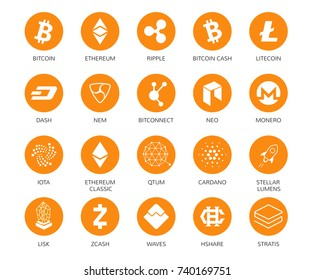 Vector set of cryptocurrency icons. Top 20 signs related to bitcoin and based on blockchain technologie crypto currencies with fast growing market capitalization. Such as bitcoin, ethereum, ripple
