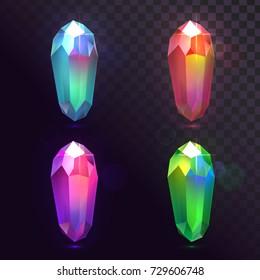 Vector set of crystals, magic stones