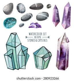 Vector set of crystals in watercolor style. Crystals of amethyst and glass polygons, pebbles and other stones. in watercolor style. Illustration  in indie style.