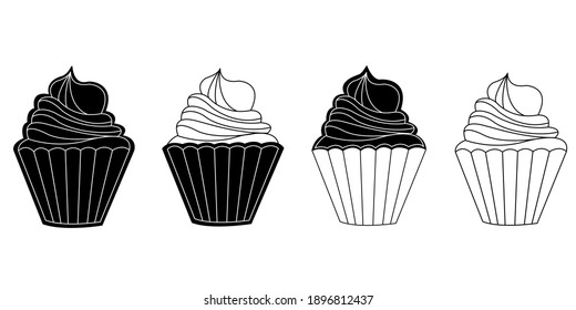 Vector set of a cupcake isolated on white background for postcard, logo, invitations, greeting cards, business card. Cupcake icons. Bakery logo