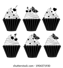 Vector set of cupcakes icons isolated on white background for invitations, greeting cards, business card, bakery logo, sweet logo