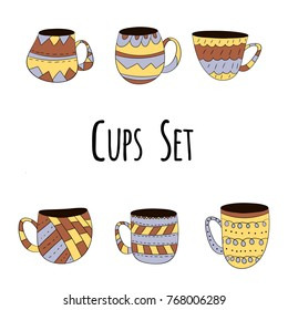 Vector set of cups of tea, coffee, milk to draw hands in Scandinavian style. Isolated colored objects.