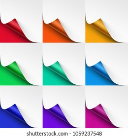 Vector Set of Curled Colored Corners of White Paper with Shadow Mock up Close up Isolated on Bright Red Scarlet Orange Yellow Green Mint Blue Purple Violet Pink Magenta Background