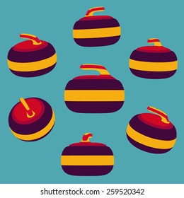 Vector set of Curling stones in different perspectives. Flat style