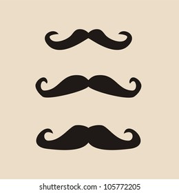 Vector set of curly vintage gentleman mustaches. Retro hipsters icon or symbol. Natural handlebar moustaches