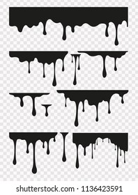 Vector set of current oil drops on transparent background. Black silhouettes dripping liquid, sauce, stains, inks, honey or paint. Collagen oil drop essence.