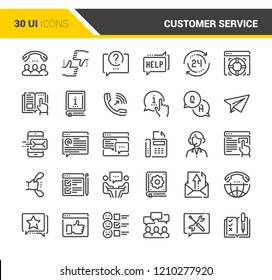Vector set of customer service flat line web icons. Each icon with adjustable strokes neatly designed on pixel perfect 48X48 size grid. Fully editable and easy to use.