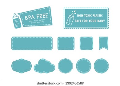 Vector set customizable label. BPA-free labels for non-toxic plastic, safe for babies. Various style labels for baby- related products.