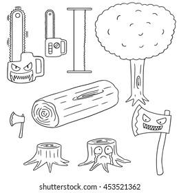 vector set of cut down tree equipment