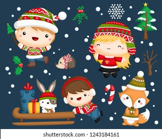 a vector set of a cute and adorable kids in winter clothes