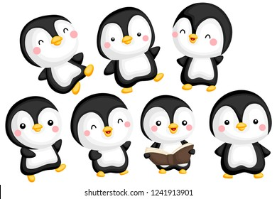 a vector set of a cute and adorable penguin