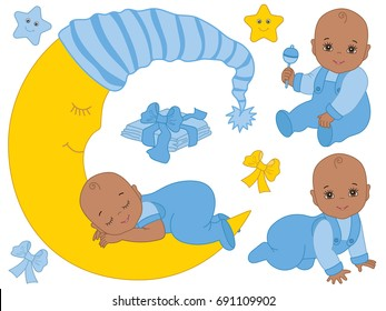 Vector set with cute African American baby boys, moon, bows, stars and diapers. Vector baby boy shower. African American baby boy vector illustration