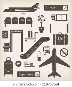 Vector set of cute airport icons and signs
