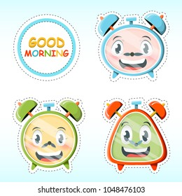 Vector set of cute alarm clock stickers in cartoon style.