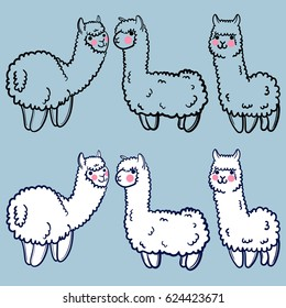 vector set with cute alpacas. Child illustration with a lama from Peru. In the Japanese anime style.