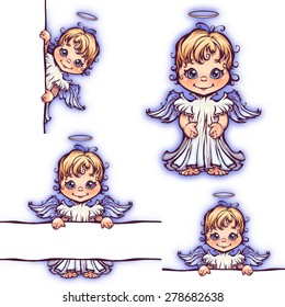 Vector set of cute angel with panel for text.