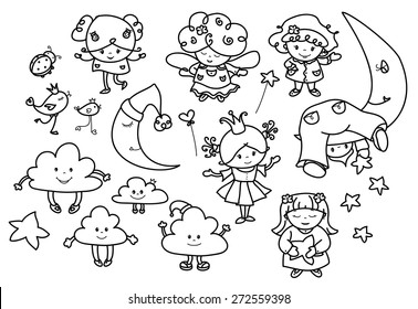 Vector set cute angels cartoons, black silhouettes.