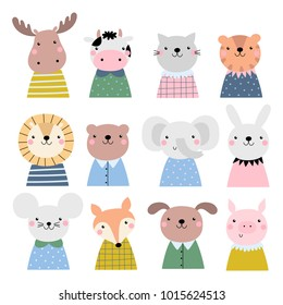 Vector set with cute animals.