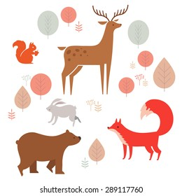Vector set of cute animals in the forest: fox, bear, rabbit, deer and squirrel. illustration in cartoon style.