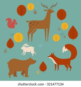 Vector set of cute animals in the forest: fox, bear, rabbit, deer and squirrel.