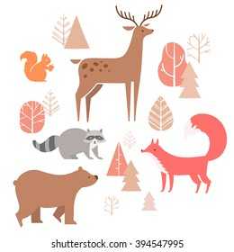 Vector set of cute animals in the forest: fox, bear, raccoon, deer and squirrel. illustration in cartoon style.