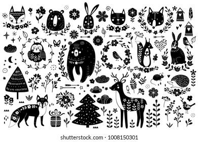 Vector set of cute animals: fox, bear, rabbit, squirrel, wolf, hedgehog, owl, deer, cat, mouse, birds. Collection of graphic elements: flowers, stars, clouds, arrows, plants. Design elements.