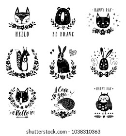 Vector set of cute animals: fox, bear, rabbit, squirrel, wolf, hedgehog, owl, cat. Illustrations for children's prints, greetings, posters, t-shirt, packaging. Cards with cute illustrations.