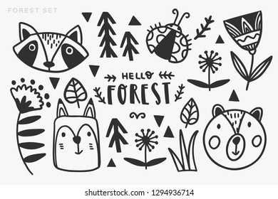 Vector set of cute animals: fox, bear, raccoon. Collection of graphic elements: flowers, plants. Design elements.