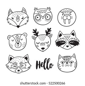 Vector set of cute animals - fox, owl, seal, polar bear, deer, raccoon, red panda and cat. Cartoon style. Ink animal portraits isolated on white background