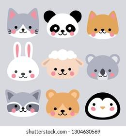 Vector set of cute animals head, kids illustration. Cat, panda, puppy, rabbit, sheep, koala, raccoon, penguin, bear.