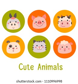 Vector set of cute animals. Illustration of piggy, donkey, cow, sheep, cat and dog. Can be used for cards, stickers, baby clothes, baby shower or birthday invitations