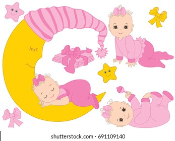 Vector set with cute baby girls, moon,  bows, stars and diapers. Vector baby girl shower. Baby girl vector illustration