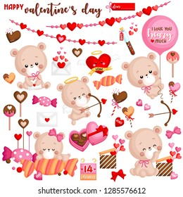 A Vector Set of Cute Bear Celebrating Valentine's Day with saying I Love You Beary Much