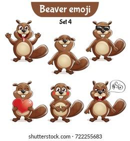 Vector set of cute beaver characters. Set 4