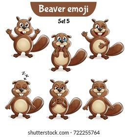 Vector set of cute beaver characters. Set 5