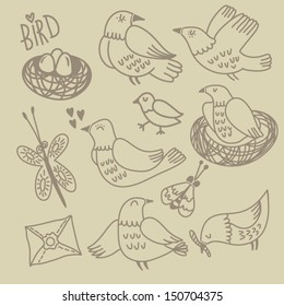 Vector set with cute birds, insects, eggs and nests.