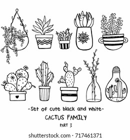 Vector set of cute black and white sketch house plants isolated on white background. Cactus family. Hand drawn ink illustration, line drawing, home decor