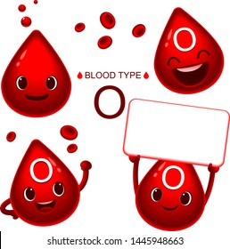 Vector set of cute blood type O characters in different actions with red blood cells decoration