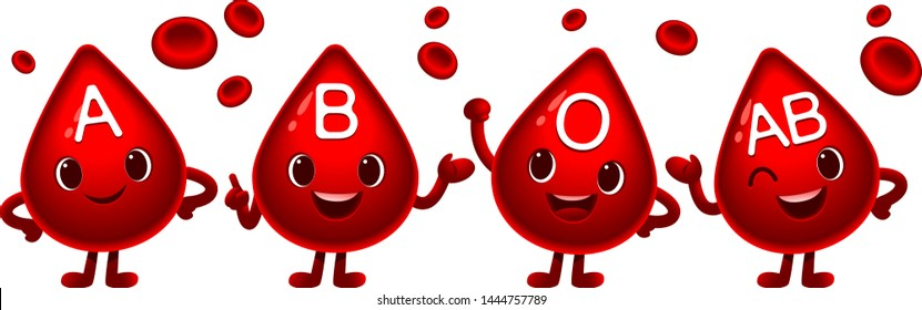 Vector set of cute blood types characters in different actions with red blood cells decoration