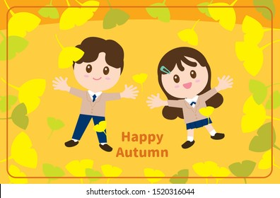 Vector set cute boy and girl  lying in the ginkgo leaves.