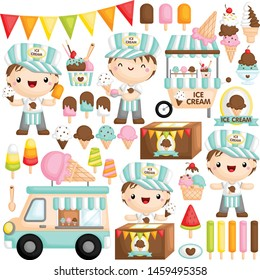 A Vector Set of Cute Boy Ice Cream Seller who is Happily Selling Various Ice Cream