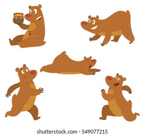 Vector set of cute brown bears: sitting with a pot of honey in his paw, lying on his belly, walking somewhere, running somewhere and standing on four paws  on a white background. Vector illustration.