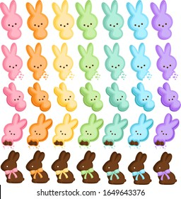 A Vector Set of Cute Bunny Marshmallow Candy and Chocolate for Easter Celebration