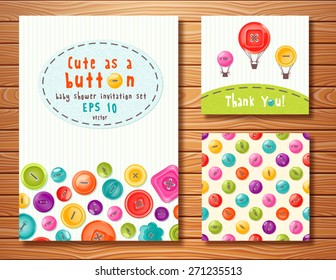 Vector set with cute buttons. Perfect for baby shower, birthday and other events.