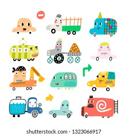 Vector set, cute cars in nursery style. Fun cars - truck, taxi, fire truck, bus, van, tractor and excavator. Isolated design elements for children. - Vector illustration