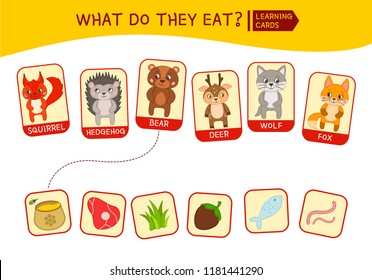 Vector set of cute cartoon animals. What do the animals eat.. Educational children's game. Learning cards.