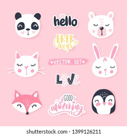 Vector set with cute cartoon animals - bear, panda, bunny, penguin, cat, fox. Funny series animals and quotes. Fashion animals. Bright stickers collection.