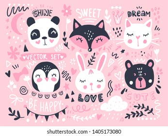 Vector set with cute cartoon animals - bear, panda, bunny, penguin, cat, fox. Funny series animals, quotes, hand drawn elements. Fashion animals. Bright stickers collection