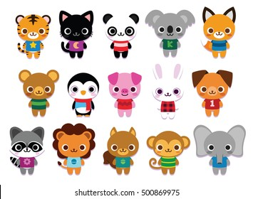 Vector Set Of Cute Cartoon Animals Isolated