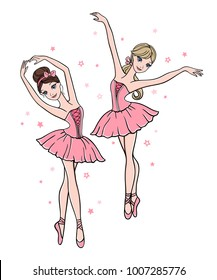 Vector set of cute cartoon ballerinas in pink tutu dresses on white background. Ballet dance illustration
